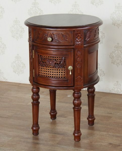 Round French Bedside with Rattan